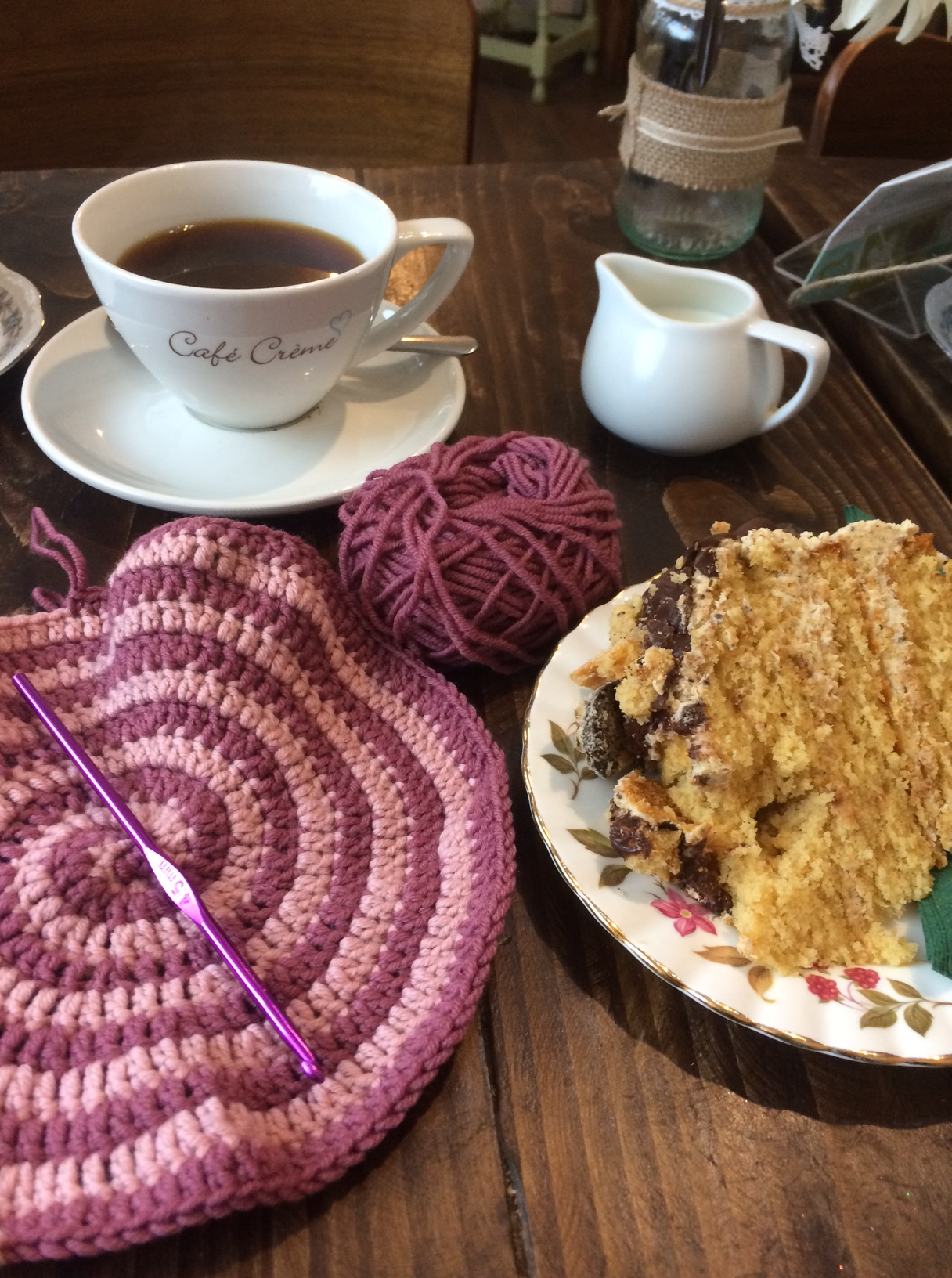 Crocheting Spirals with coffee and cake