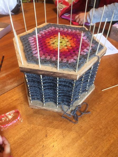 Crochet Hexagon Wool Blanket Blocking