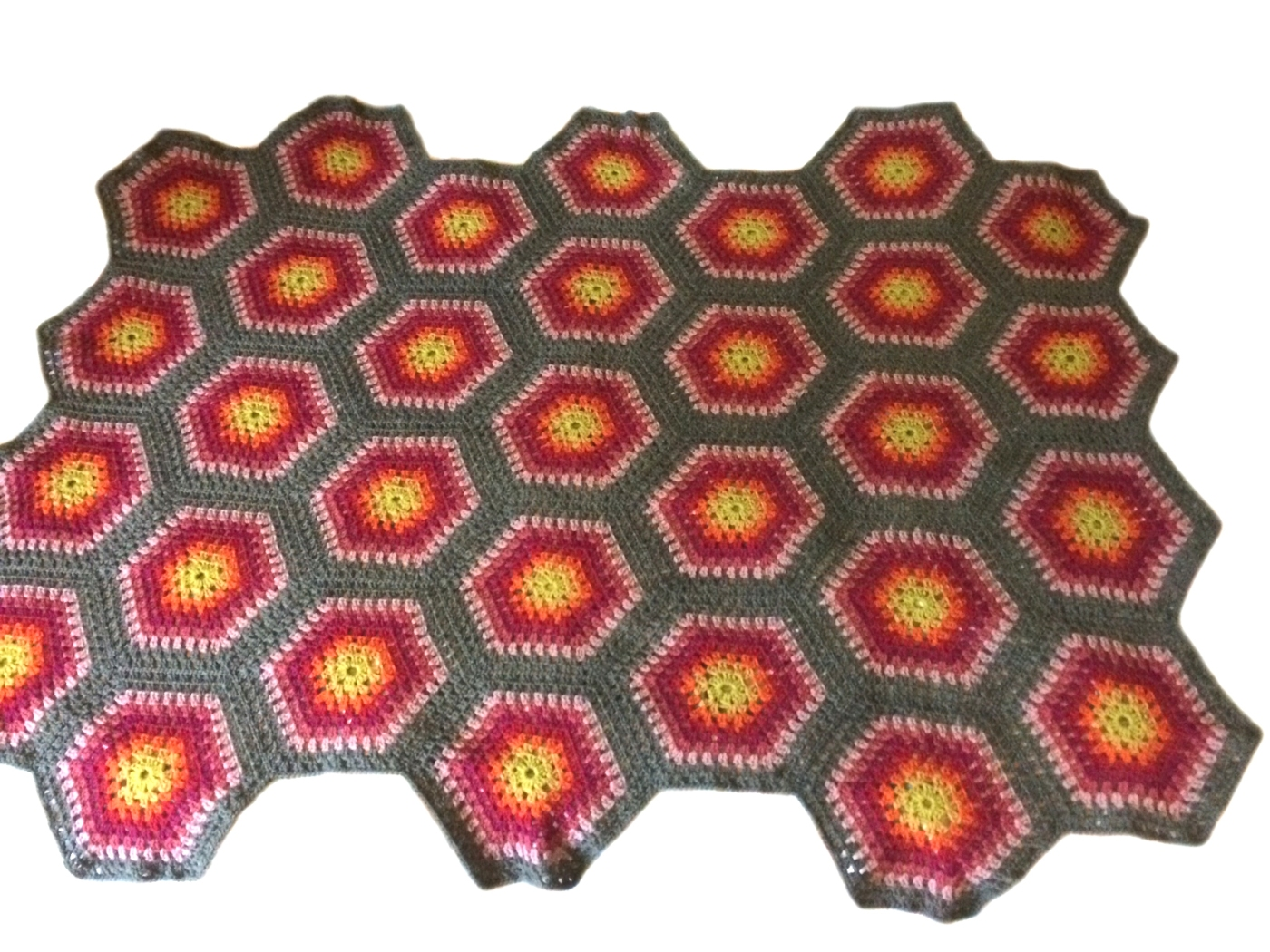Crochet Hexagon Wool Blanket