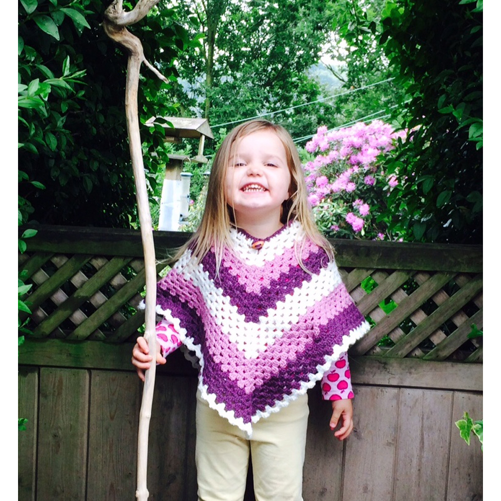Kid's Granny Style Crochet Poncho